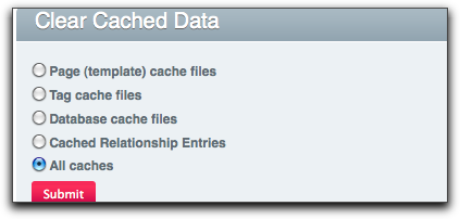 Clear Caching Option